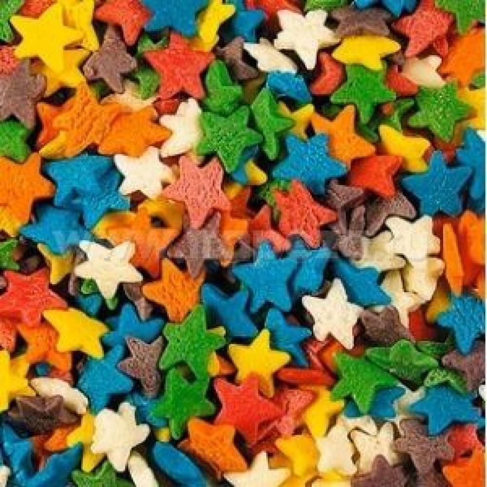 Посыпка для мороженого и десертов, звезды разноцветные 750г