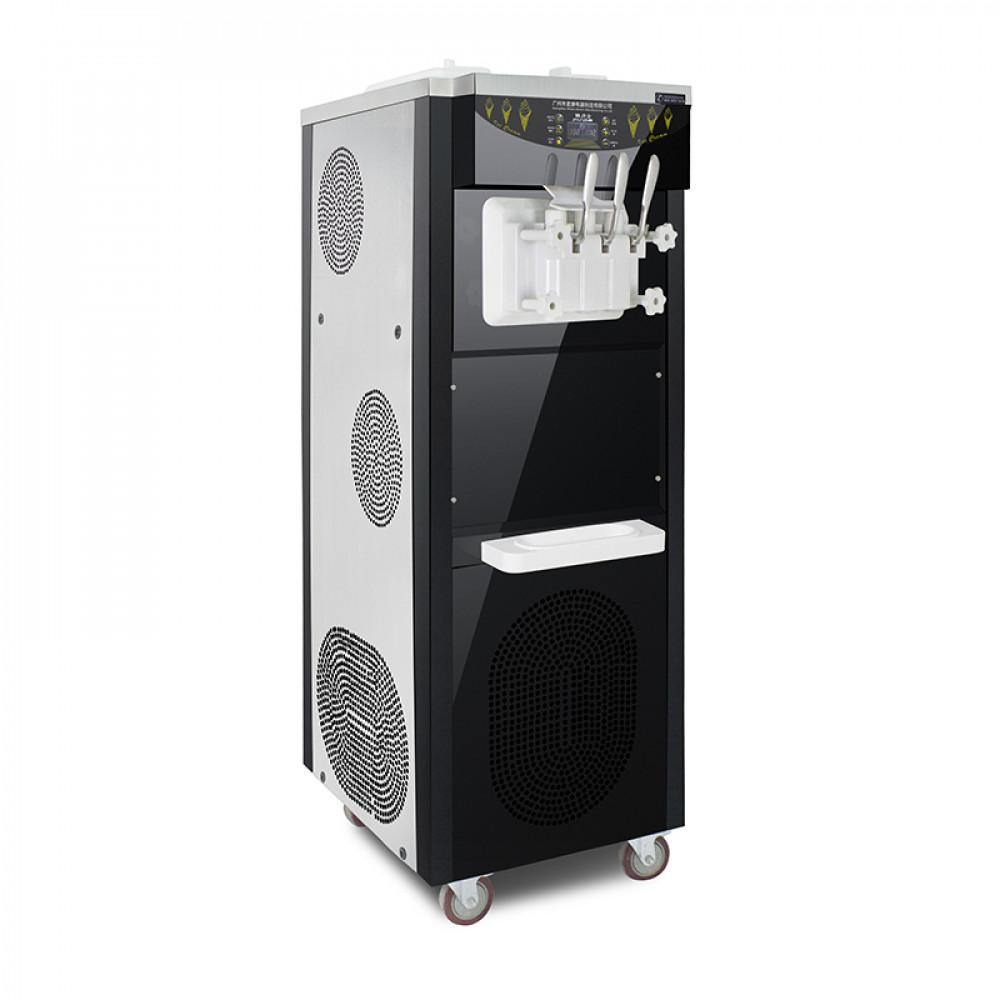 Фризер для мягкого мороженого напольный, 3 узла раздаточных, 36-38лч, нерж.сталь+черный