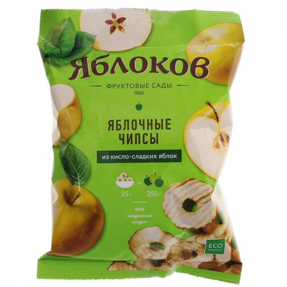 Чипсы яблочные из кисло-сладких яблок «Яблоков», коробка (30 пакетов по 25г.)